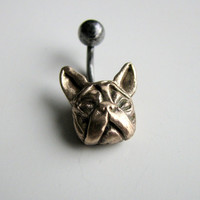 French bulldog belly button jewelry