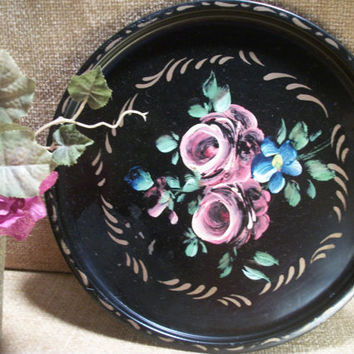 Antique E T Nash Toleware Hand Painted Black and Gold Round Metal Decorative Serving Tray with Victorian Flowers Pink Roses