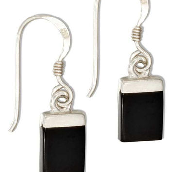 STERLING SILVER SMALL SIMPLE RECTANGLE SIMULATED BLACK ONYX EARRINGS