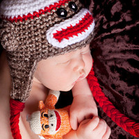 Sock Monkey Hat  Five sizes available Newborn to 2 to 4 yrs sizes available Adorable photography prop