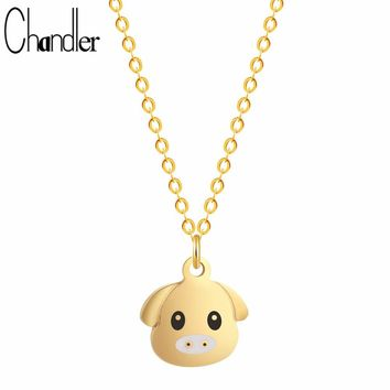 Chandler Gold Color Silver Plating Piglet Pig Pendant Necklaces For Kids Girls Alloy Zinc Link Chain Colier Animal Dainty Bijoux