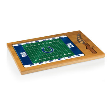 Indianapolis Colts - Icon Glass Top Serving Tray & Knife Set (Football Design)