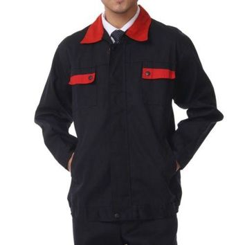 Working Protective Gear Uniform Suit Canvas Garage red collar top clothes 170