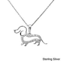 Sterling Silver or Two-tone 1/10ct TDW Diamond Dachshund Dog Necklace | Overstock.com