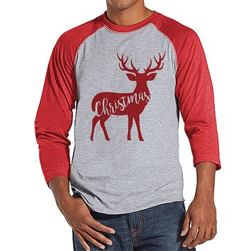 Reineer Holiday Shirt - Men's Christmas Shirt - Men's Baseball Tee - Red Raglan Shirt - Family Shirts - Family Holiday Outfit - Winter Shirt