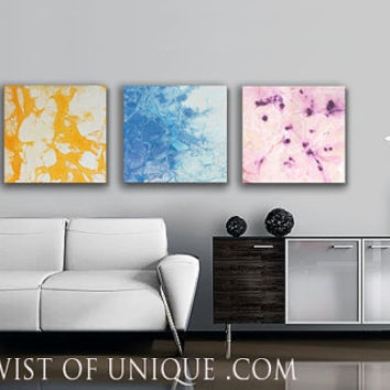 Pastel Minimalist abstract Painting / CUSTOM 3 panel ( 15 Inch x 15 Inch) Abstract Art / Purple, Lavender,ice blue, yellow, buttercup