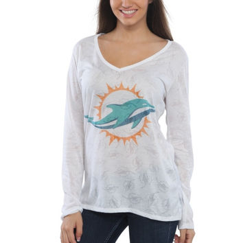 Women's Miami Dolphins White Sublime Burnout V-Neck Long Sleeve T-Shirt