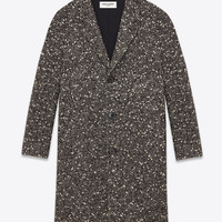 Saint Laurent Raglan Sleeve Coat In Black And White Textured Virgin Wool And Mohair | ysl.com