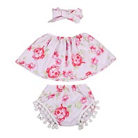 3Pcs Newborn Baby Girls Clothing Set Sleeveless Floral Tube Top + Tassel Shorts + Headband 3PCS Outfits Clothes