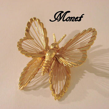 Vintage Monet Butterfly Figural Brooch * Textured & Smooth Gold Tone * Designer Signed * Jewelry * Jewellery