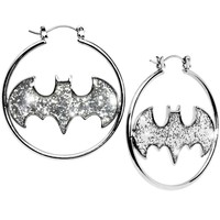 Glitter Logo Batman Hoop Earrings