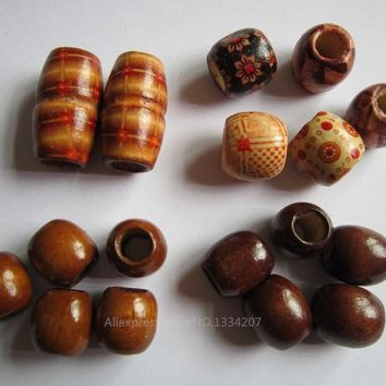 Free Shipping 17Pcs/Lot hair braid dread dreadlock mix wooden set Beads cuffs clips