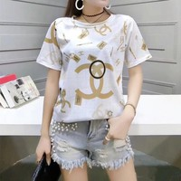 """Chanel"" Women Casual Fashion Personality Letter Logo Print Short Sleeve T-shirt Top Tee"