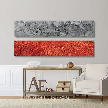 Oversized Abstract wall Art / CUSTOM Painting / 2 panel (48 Inch x 12 Inch) / Concrete / Stone/ Textured/ Red and metallic silver