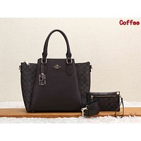 Coach Classic Women Retro Leather Handbag Tote Shoulder Bag Purse Wallet Set Two-Piece Coffee