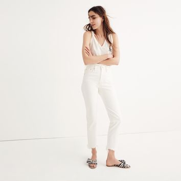 The Short Perfect Summer Jean in Tile White: Destructed-Hem Edition : shopmadewell extended sizes | Madewell