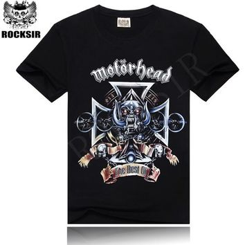 Rocksir fashion motorhead t shirt for men 100% cotton printing t shirt Rock men t shirts O-neck Rock Tshirt t-shirt