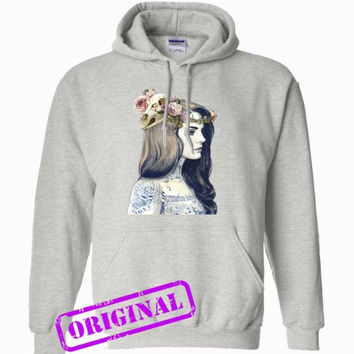 lana del rey tattoed for hoodie ash, hooded ash unisex adult