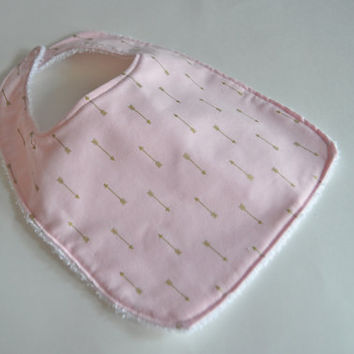 Baby bib, Pink baby bib, Pink and gold Baby bib, Arrow baby bib, Cupid's arrow baby bib, Baby gift for new baby, new Grandma gift