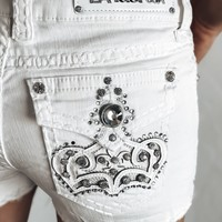 L.A. Idol Royalty White Cutoff Shorts
