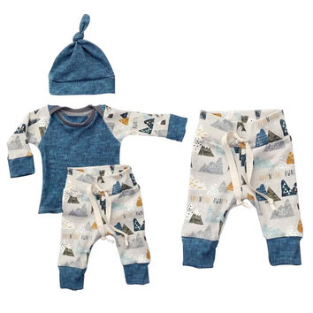3PCS/ Graphic Sleeved Sweatshirt + Pajamas + Blue Hat Outfit Set for NB Boys