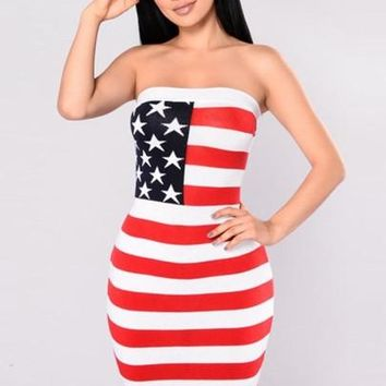 American Strapless Women's Bodycon Dress