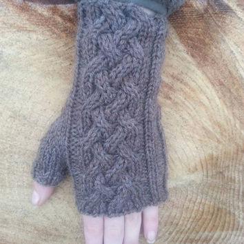 fingerless gloves Outlander inspired aran knit with celtic cable, texting gloves in pine bark Peruvian highland wool, ready to ship