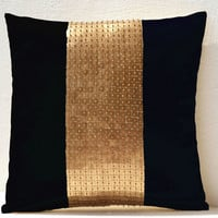 Throw Pillows - Black gold color block in silk and sequin bead detail cushion - sequin bead pillow - 16X16 black pillow - gift pillow