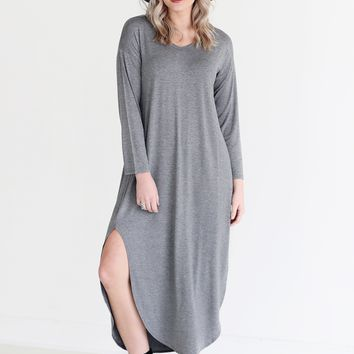 Dark Heather Gray DLMN Long Sleeve Maxi Dress