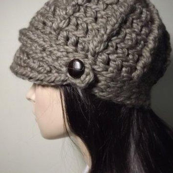 Newsboy Crochet Hat Taupe Womens Beanie With Brown Tab Button Accent Embellishment