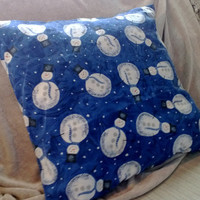 Christmas Pillow Cover Blue with Snowmen Upcycled 18 Inch Square