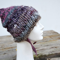 Ear flap knit hat tones of gray, lavender beige hand knited soft wool, acrilic yarn, lilac, ooak unisex fashion cap melange, unique art 107