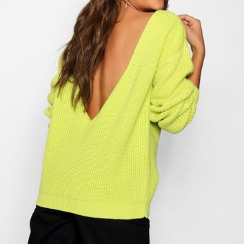 V-Back Oversized Jumper | Boohoo