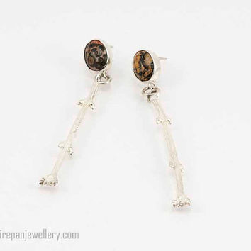 Leopard skin jasper with sterling silver twig dangle earrings, gemstone, silver, one of a kind, handmade, nature, pattern, gift for her