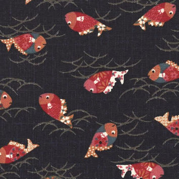 Colorful Fish Japanese Indigo Cotton Quilting Fabric KW-3370-4A