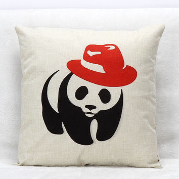 Vintage Printed Pillow Case Red Hat Panda Cushion Cotton Linen Cover Square 45X45CM