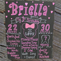 birthday chalkboard, girl birthday, minnie mouse, custom chalkboard, photography prop, birthday sign,first birthday,chalkboard poster,memory