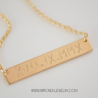 Gold / Sterling Silver Necklace - Heavy Bar Necklace - Nameplate Necklace