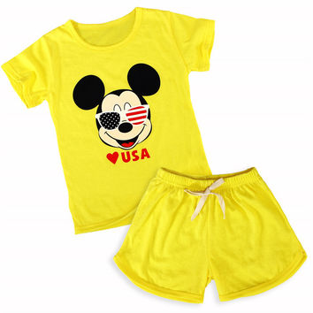 2017 Summer baby girls boys cartoon mickey kitty o-neck t shirt+ short suit fashion cool childrens casual clothes 17F401