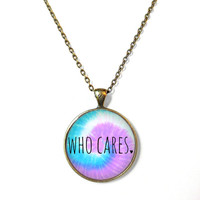 Pastel Goth who cares <3 Necklace - Funny Antisocial Pastel Goth Soft Grunge Jewelry