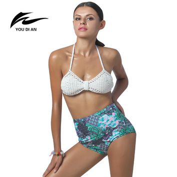 2017 Sexy Women Handmade Crochet Bikini Color knitting girl micro Knit Suit Colors Triangle Swimming Top Swimsuit Beach Swimwear
