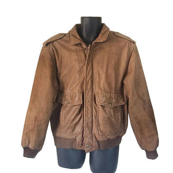 Brown Leather Bomber Jacket Men Leather Bomber Jacket 90s Bomber Jacket Leather Aviator Jacket 90s Leather Jacket Men Winter Jacket Coat