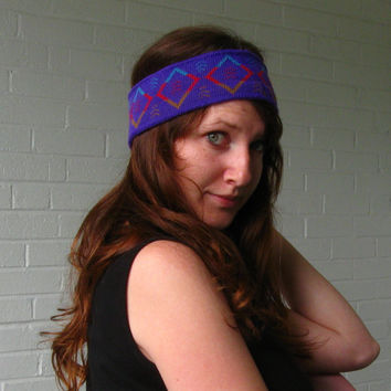 1990s WInter headband Purple with Aztec print by JunkStoreAddict