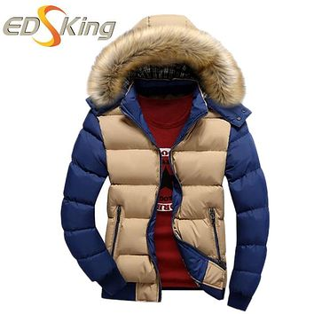 High Quality Jacket Man Red Khaki Warm Stand Collar Solid Slim Fit Parka Winter Hooded Coat Man Casual Jacket