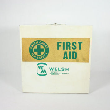 Vintage Welsh Textron Green Cross Metal First Aid Box