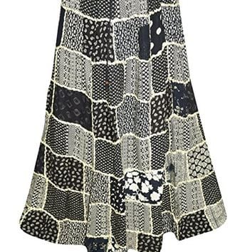 Women's Peasant Skirts Blue Printed Patchwork Vintage Maxi Skirts Drawstring