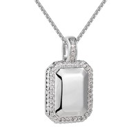 Designer 3D Dog Tag Iced out 14k Rhodium Finish Pendant Chain