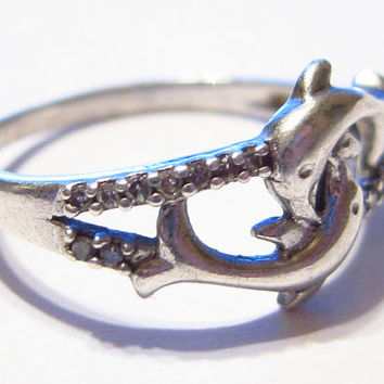 Sterling Silver Dolphins Ring Size 7