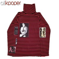 ALLKPOPER Kpop BTS SUGA Sweatershirt Bigbang GD G-Dragon Sweatershirts Pullover Striped Hoodie Jumper Korean Idols Fans 2017 New