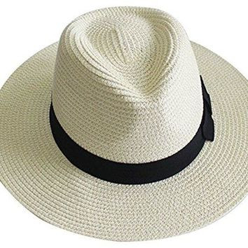 YUUVE Women Wide Brim Straw Hat Panama Hat Fedora Beach Sun Hat White